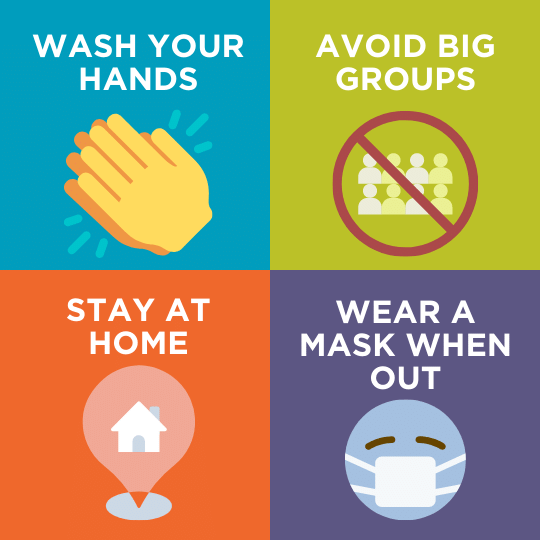 Tips to stay safe during COVID-19 | Wash your hands | Avoid big groups | Stay at home | Wear a mask when out